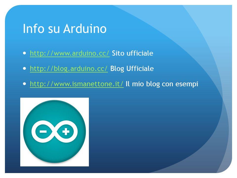 Info su Arduino http://www.arduino.cc/ Sito ufficiale
