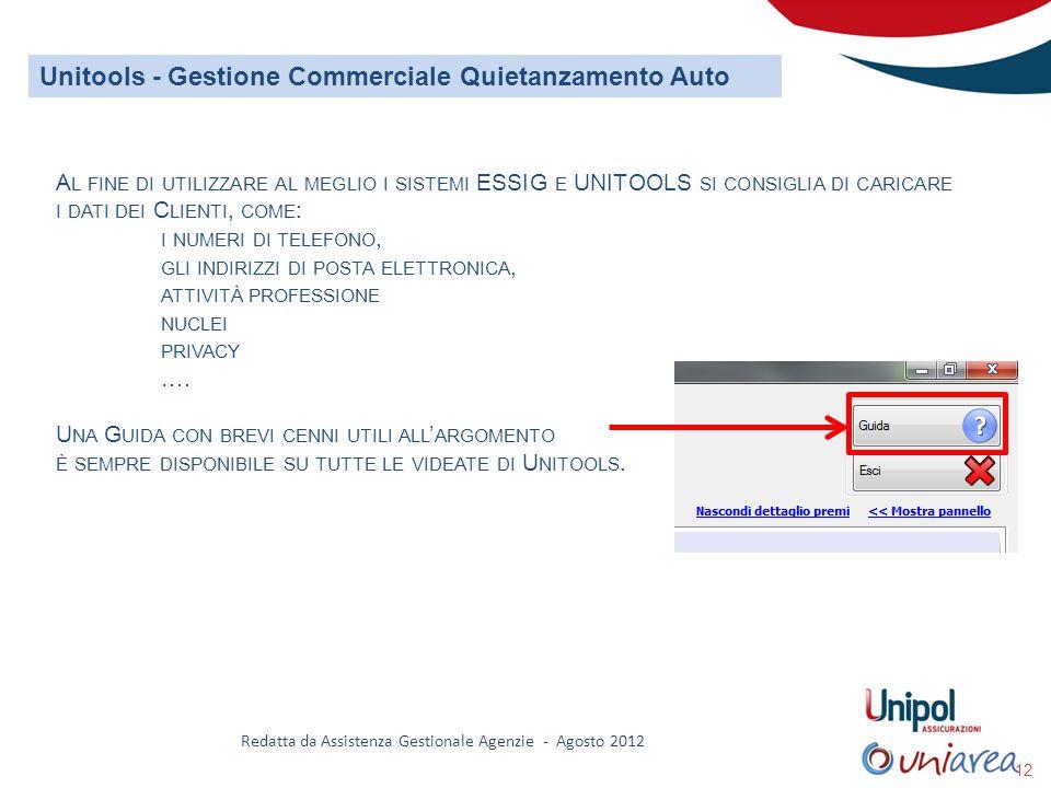 Redatta da Assistenza Gestionale Agenzie - Agosto 2012