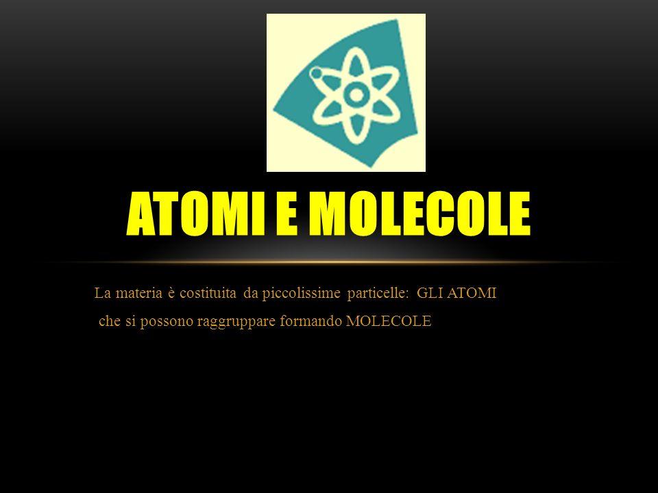 Atomi e molecole La materia è costituita da piccolissime particelle: GLI ATOMI.