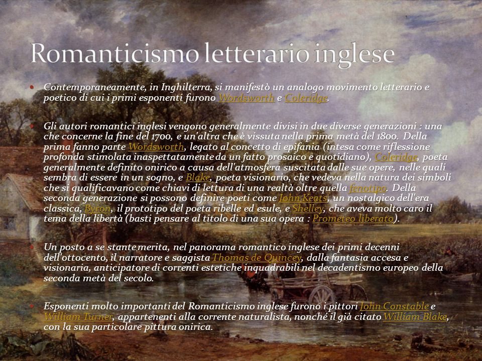 Romanticismo letterario inglese