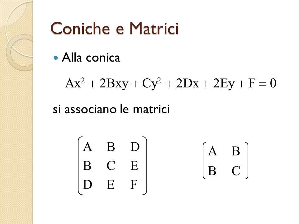Coniche e Matrici Alla conica Ax2 + 2Bxy + Cy2 + 2Dx + 2Ey + F = 0