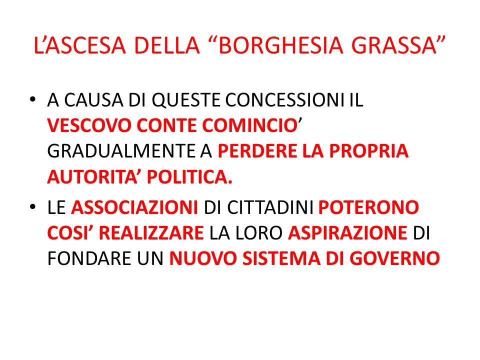 L'ASCESA DELLA BORGHESIA GRASSA