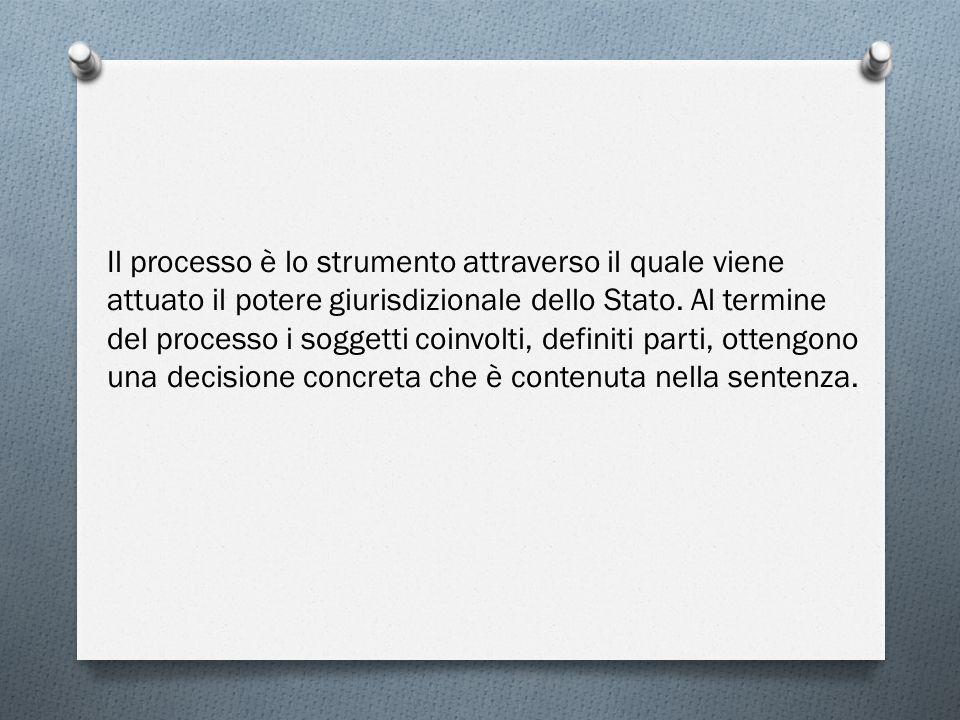 Il processo è lo strumento attraverso il quale viene attuato il potere giurisdizionale dello Stato.