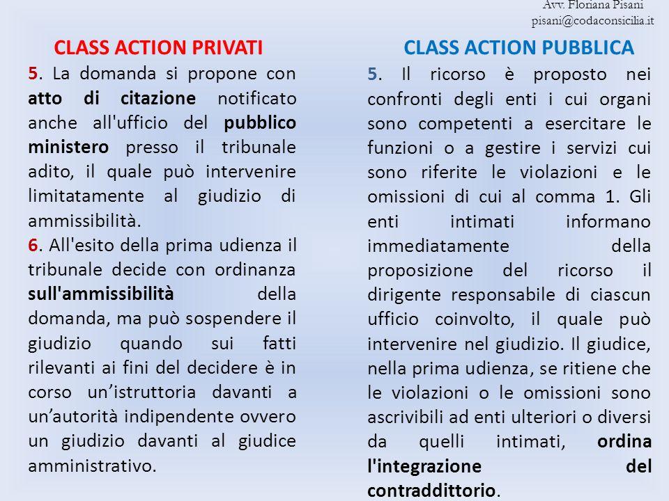 CLASS ACTION PRIVATI CLASS ACTION PUBBLICA