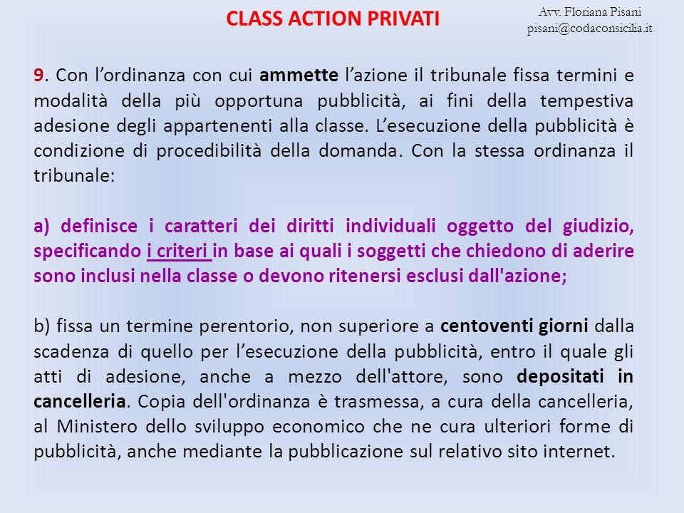 CLASS ACTION PRIVATI Avv. Floriana Pisani. pisani@codaconsicilia.it.