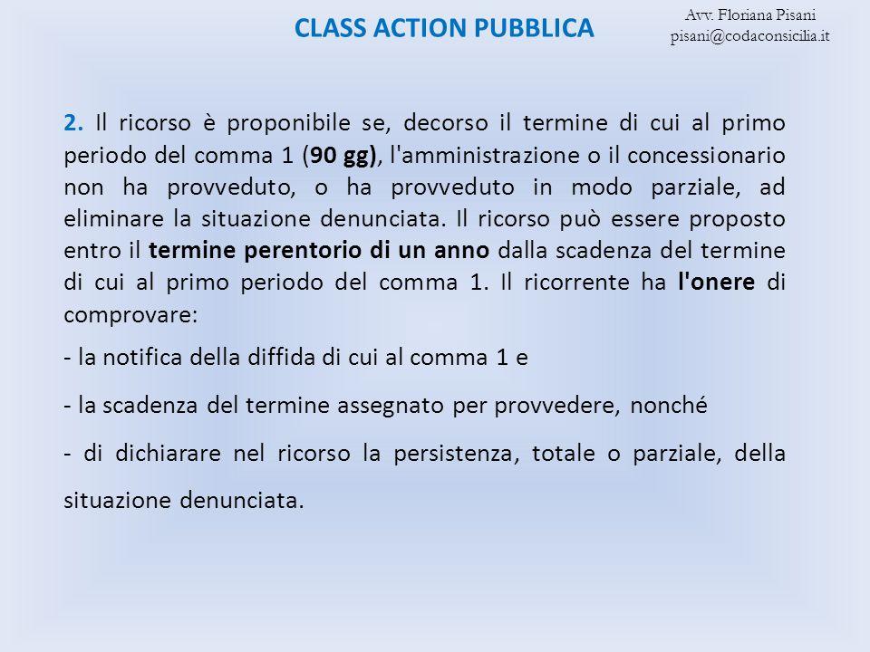 CLASS ACTION PUBBLICA Avv. Floriana Pisani. pisani@codaconsicilia.it.