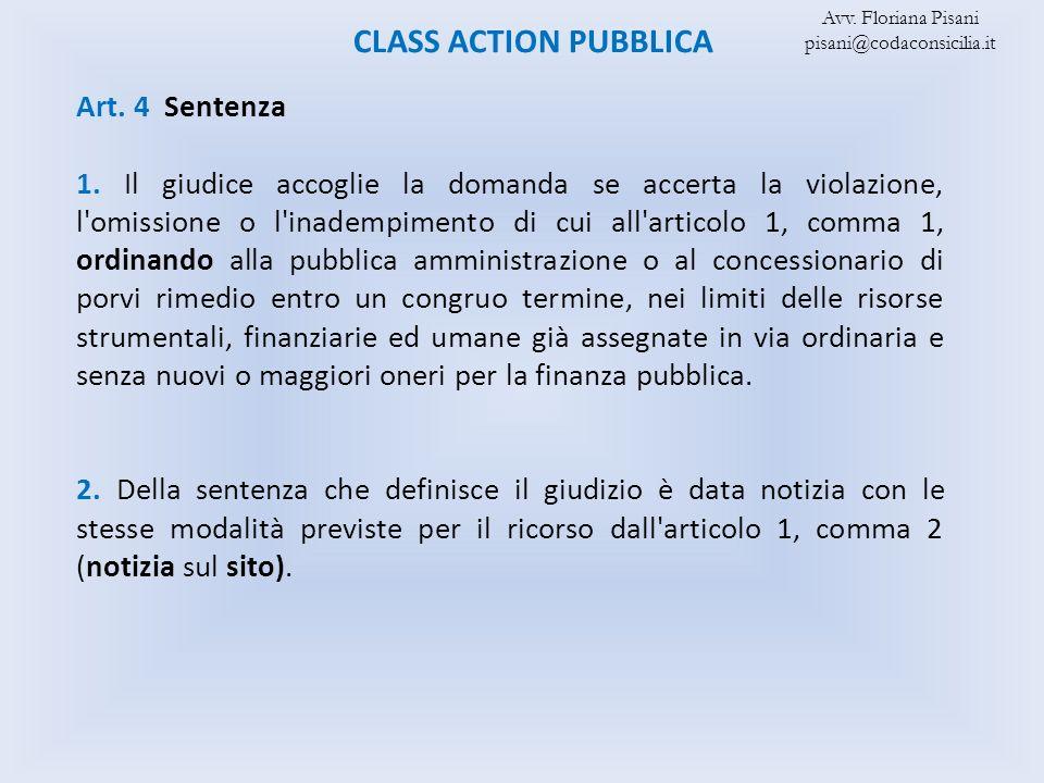 CLASS ACTION PUBBLICA Art. 4 Sentenza