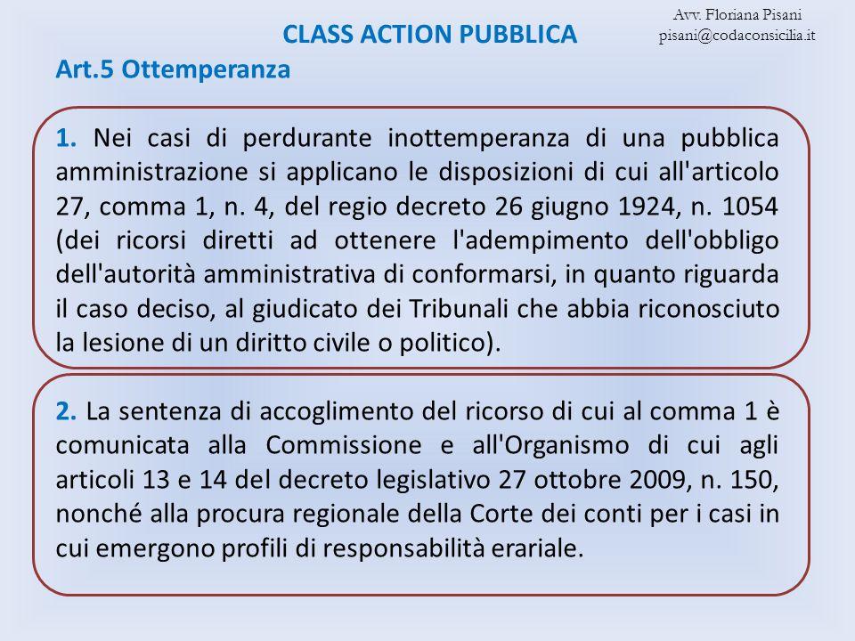 CLASS ACTION PUBBLICA Art.5 Ottemperanza