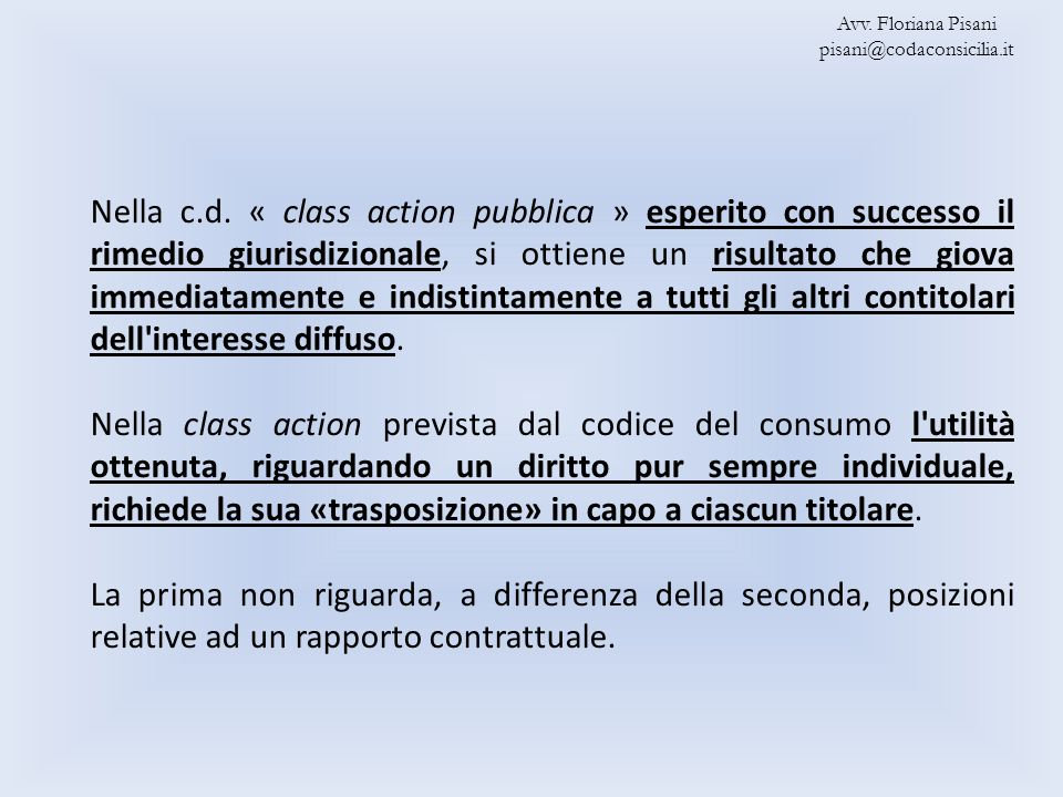 Avv. Floriana Pisani pisani@codaconsicilia.it.