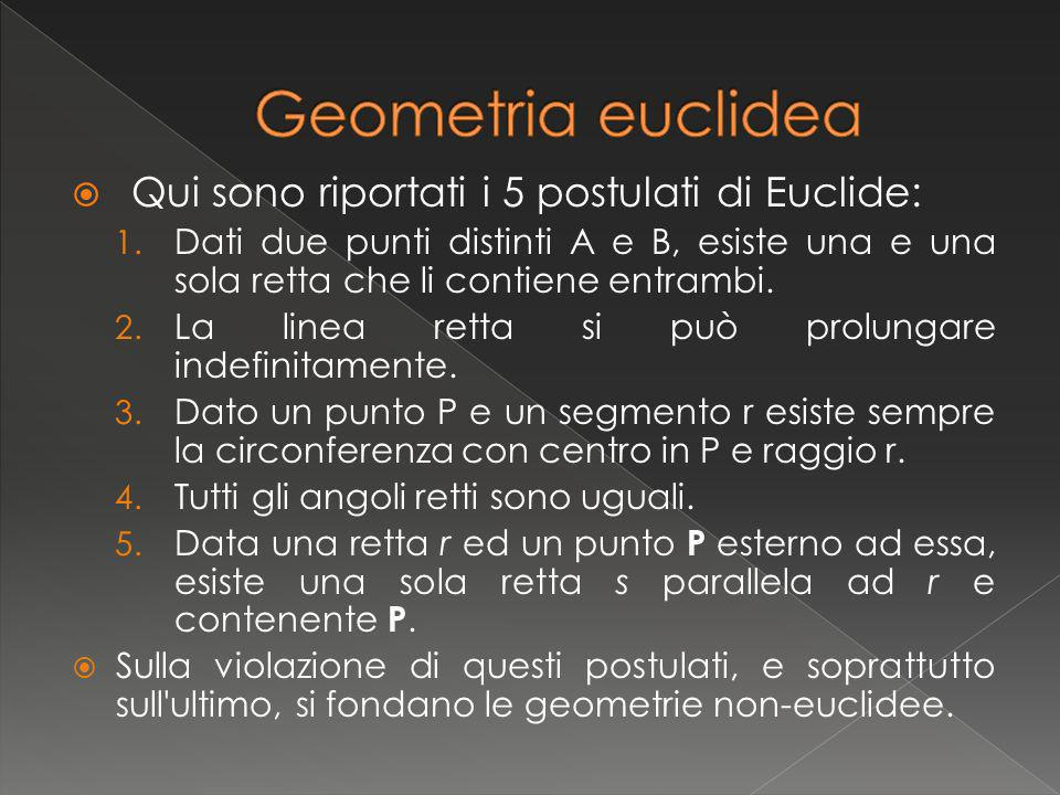Geometria euclidea Qui sono riportati i 5 postulati di Euclide: