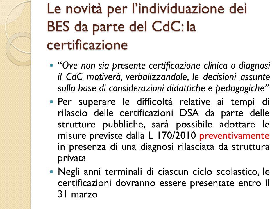 Le novità per l'individuazione dei BES da parte del CdC: la certificazione