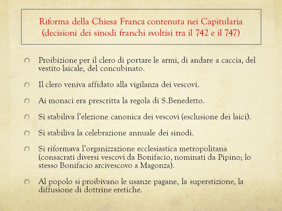 Riforma della Chiesa Franca contenuta nei Capitularia (decisioni dei sinodi franchi svoltisi tra il 742 e il 747)