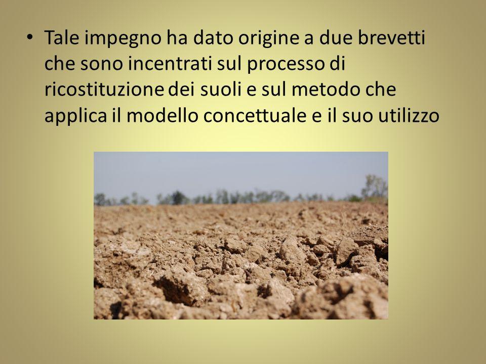 Tale impegno ha dato origine a due brevetti che sono incentrati sul processo di ricostituzione dei suoli e sul metodo che applica il modello concettuale e il suo utilizzo