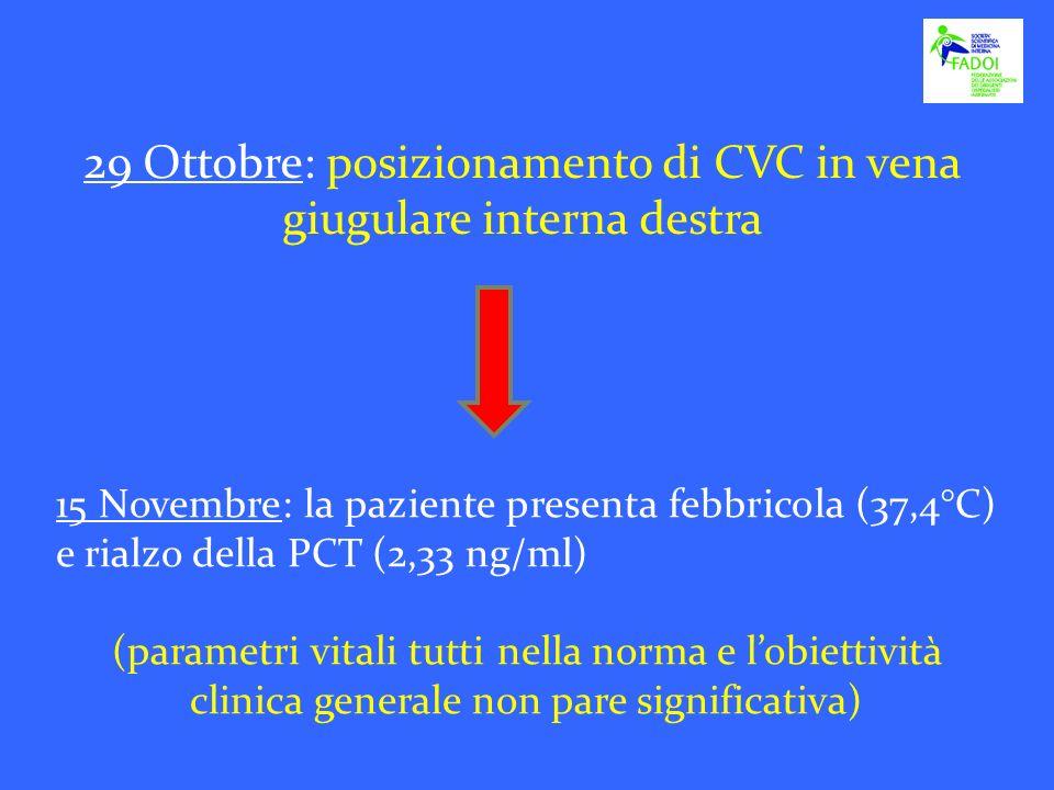29 Ottobre: posizionamento di CVC in vena giugulare interna destra