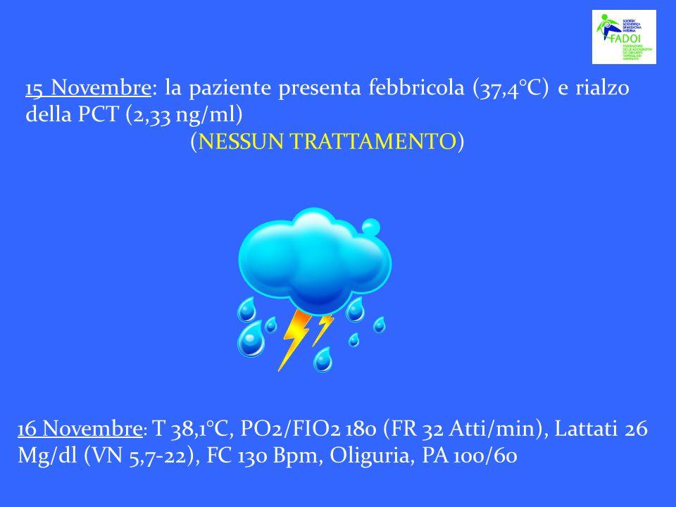 15 Novembre: la paziente presenta febbricola (37,4°C) e rialzo della PCT (2,33 ng/ml)