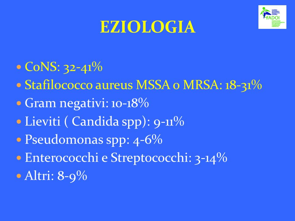EZIOLOGIA CoNS: 32-41% Stafilococco aureus MSSA o MRSA: 18-31%