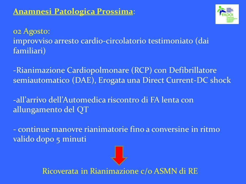 Anamnesi Patologica Prossima: 02 Agosto: