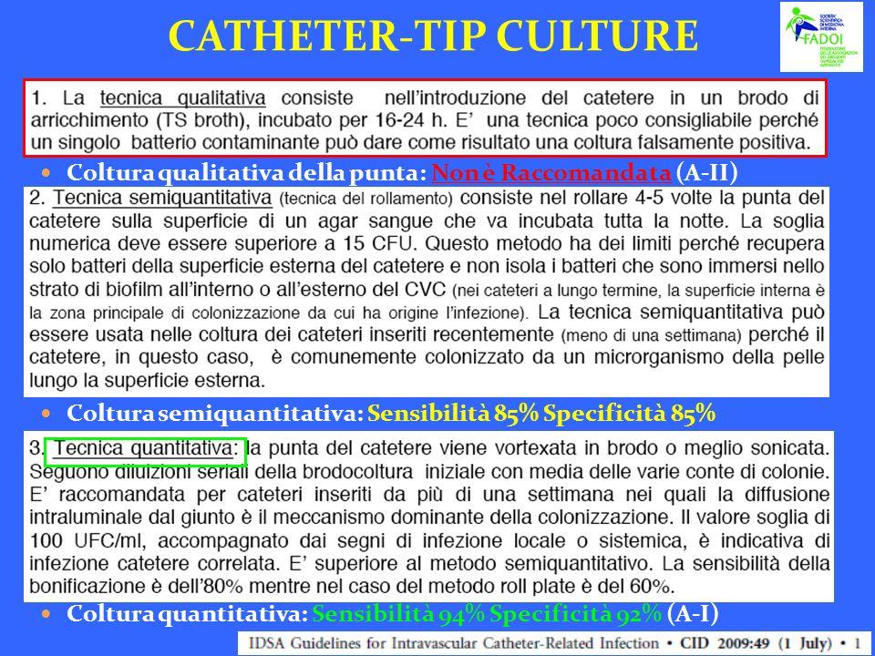 CATHETER-TIP CULTURE Coltura qualitativa della punta: Non è Raccomandata (A-II) Coltura semiquantitativa: Sensibilità 85% Specificità 85%