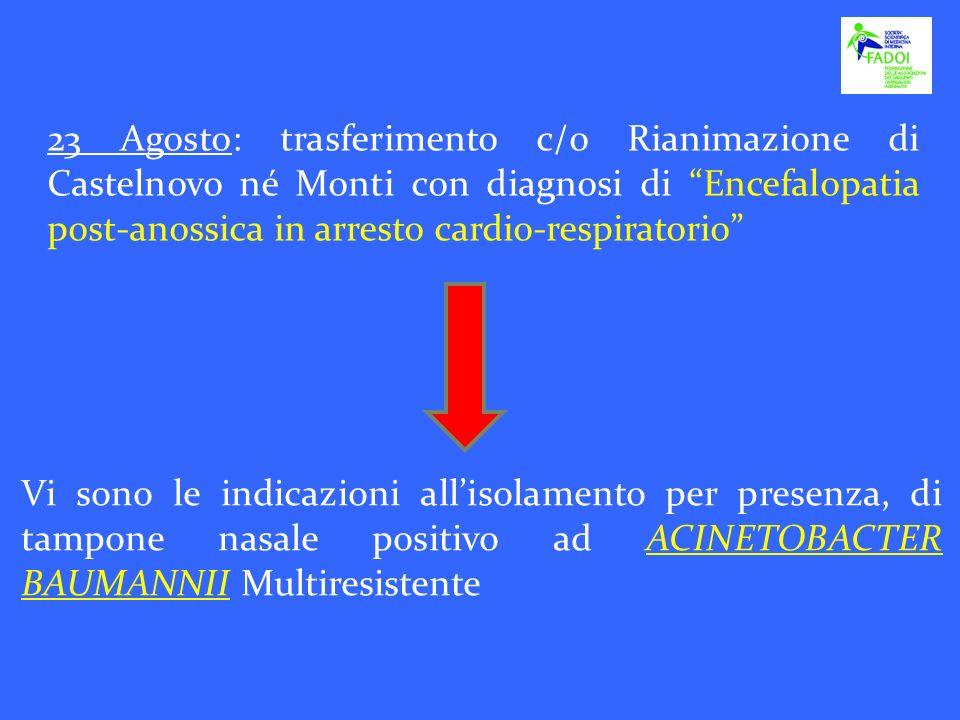 23 Agosto: trasferimento c/o Rianimazione di Castelnovo né Monti con diagnosi di Encefalopatia post-anossica in arresto cardio-respiratorio