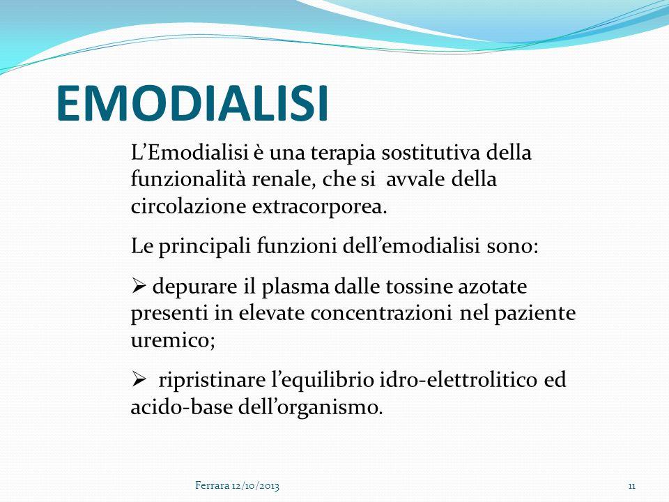 EMODIALISI L'Emodialisi è una terapia sostitutiva della funzionalità renale, che si avvale della circolazione extracorporea.