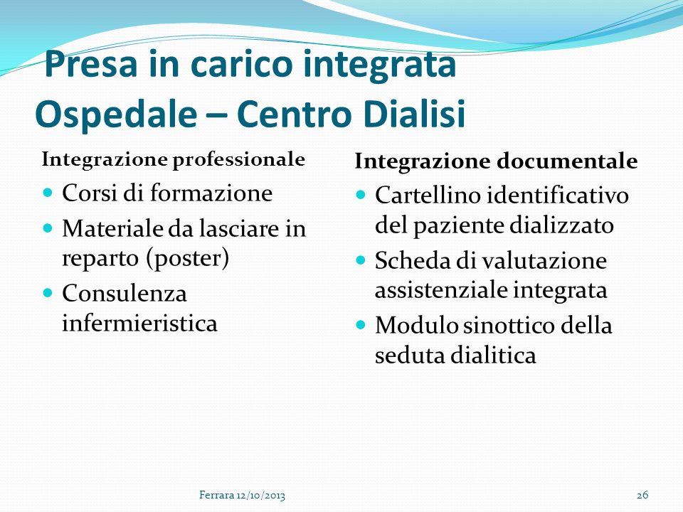 Presa in carico integrata Ospedale – Centro Dialisi