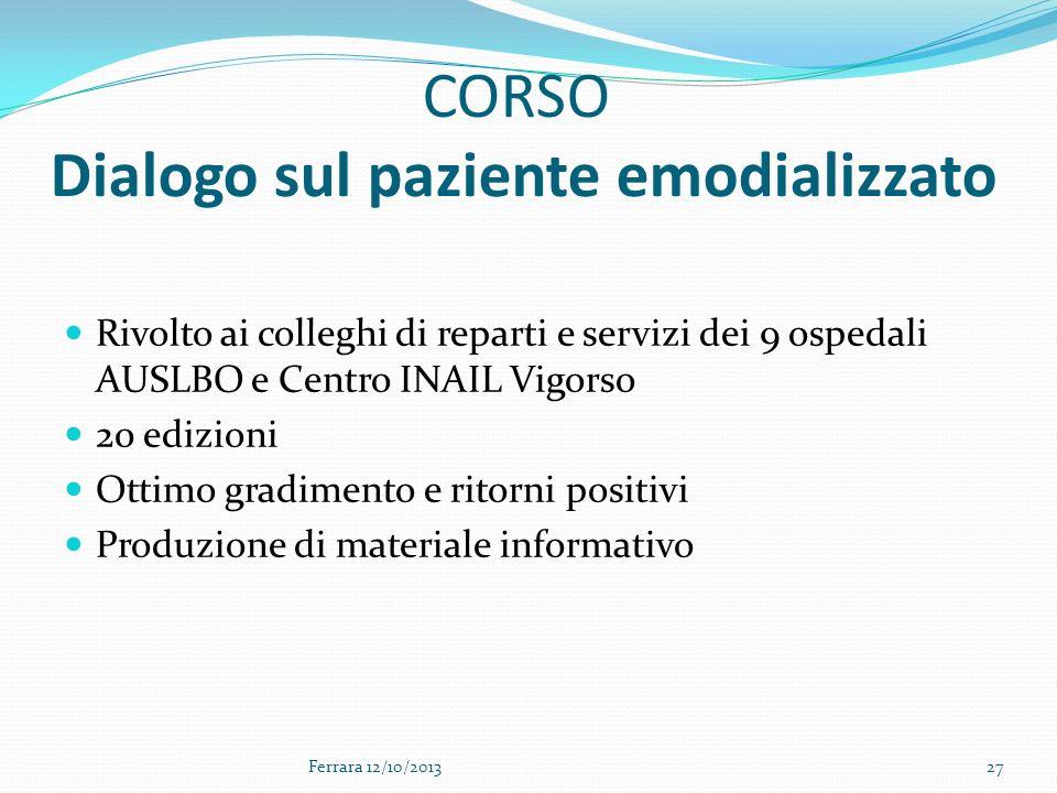CORSO Dialogo sul paziente emodializzato