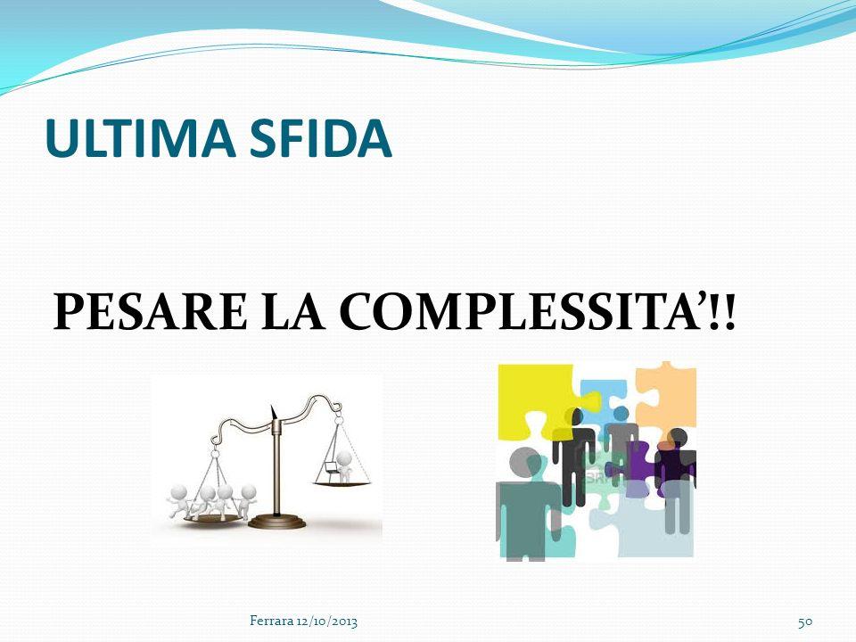 ULTIMA SFIDA PESARE LA COMPLESSITA'!! Ferrara 12/10/2013