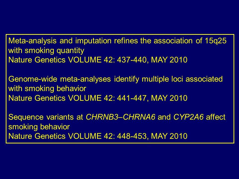 Meta-analysis and imputation refines the association of 15q25 with smoking quantity