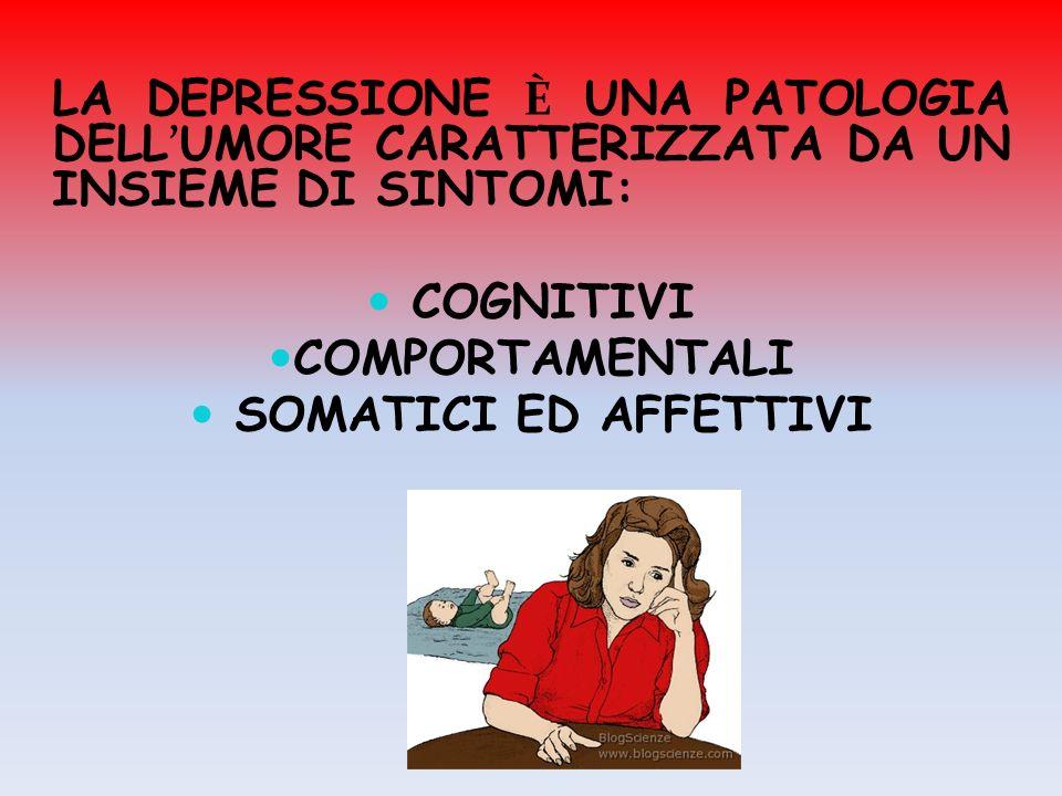 LA DEPRESSIONE È UNA PATOLOGIA DELL'UMORE CARATTERIZZATA DA UN INSIEME DI SINTOMI: