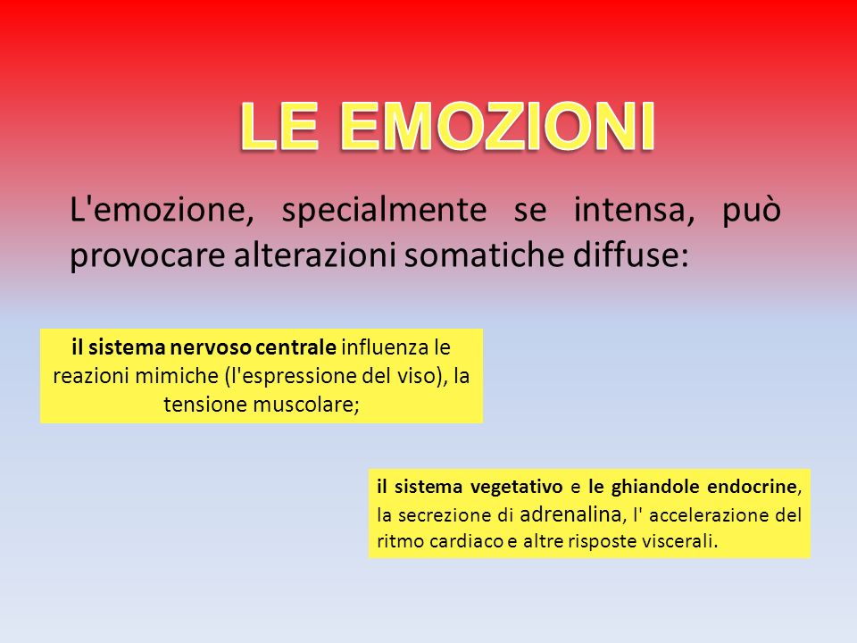 LE EMOZIONI L emozione, specialmente se intensa, può provocare alterazioni somatiche diffuse: