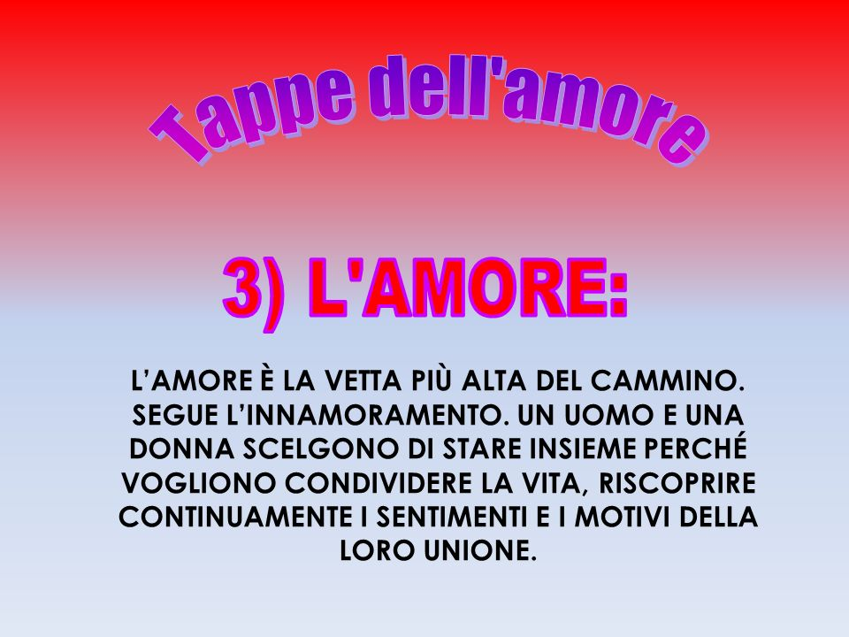Tappe dell amore 3) L AMORE: