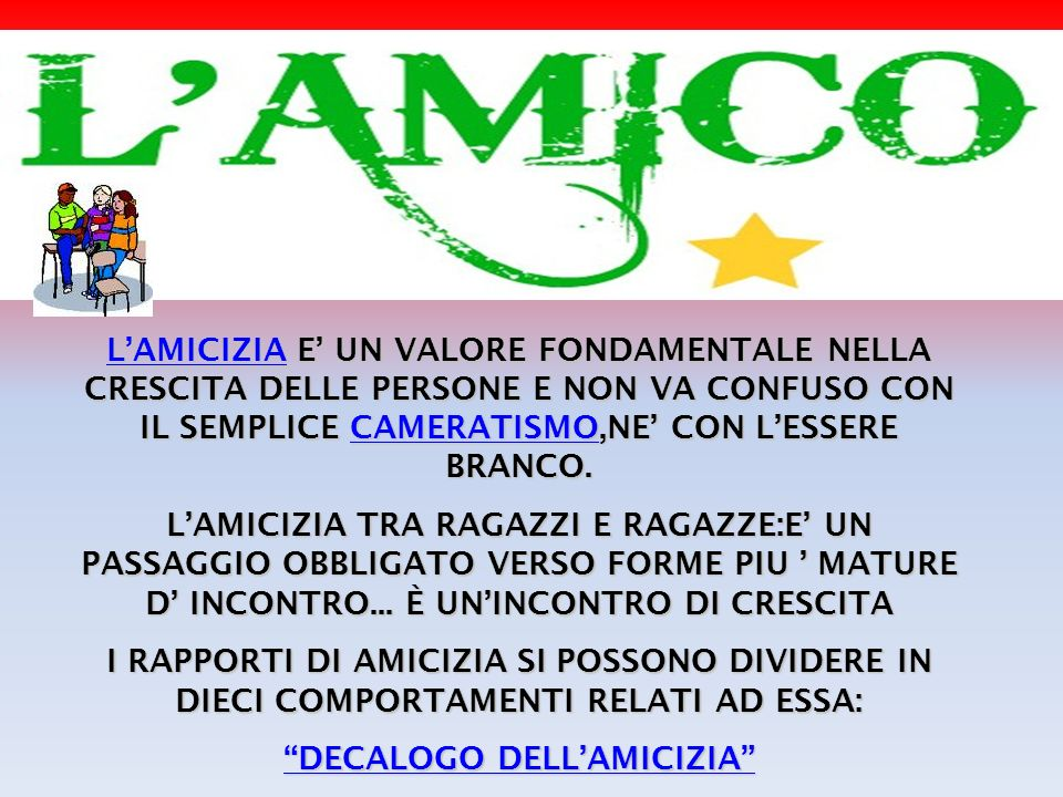 DECALOGO DELL'AMICIZIA