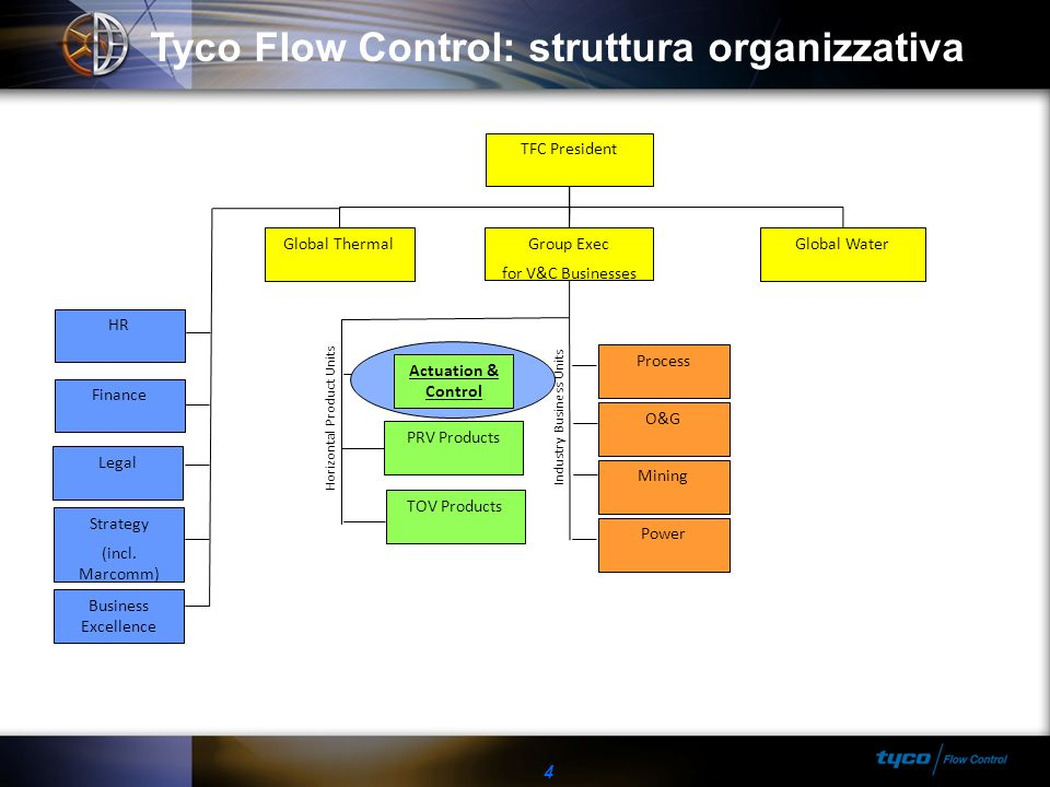 Tyco Flow Control: struttura organizzativa