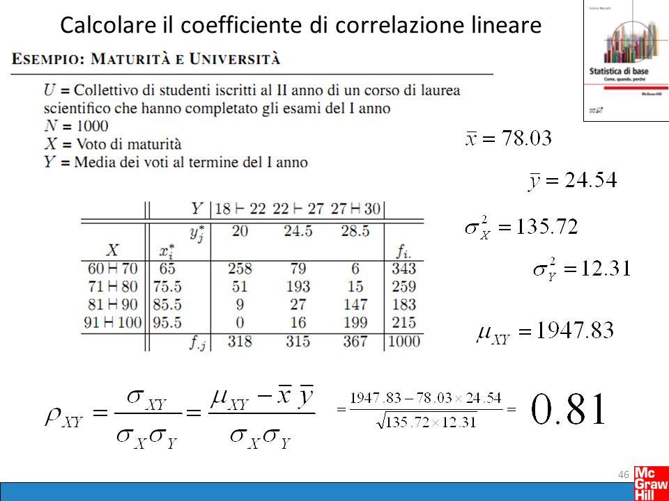 Calcolare il coefficiente di correlazione lineare