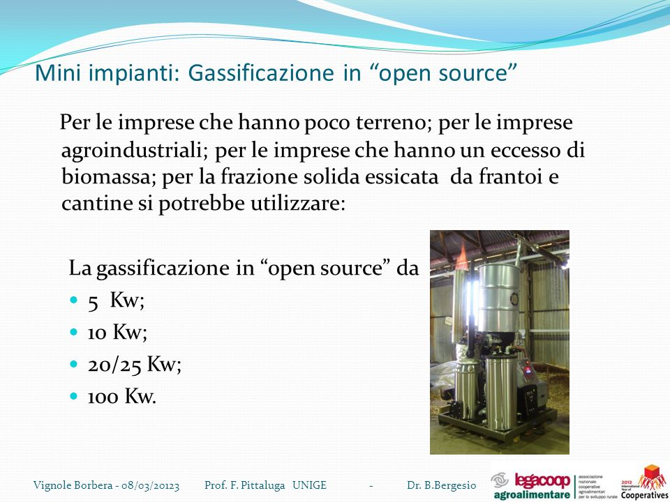 Mini impianti: Gassificazione in open source