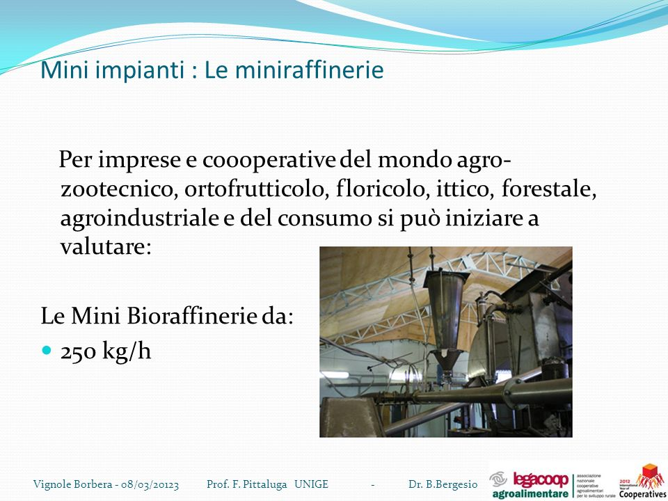 Mini impianti : Le miniraffinerie