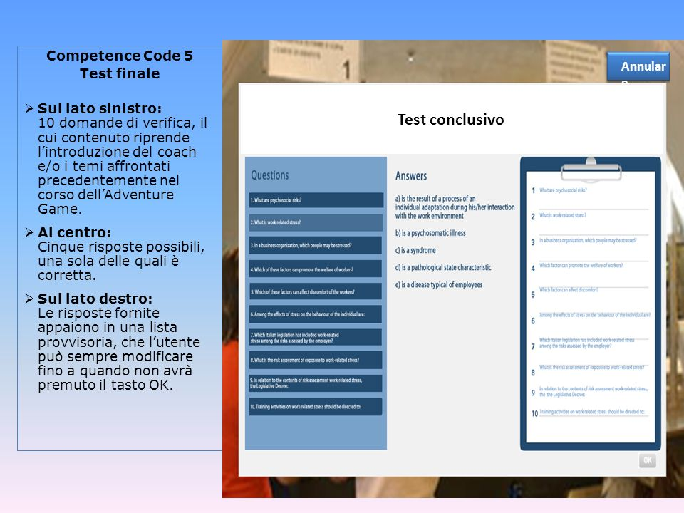 Annulare Test conclusivo. Competence Code 5. Test finale.