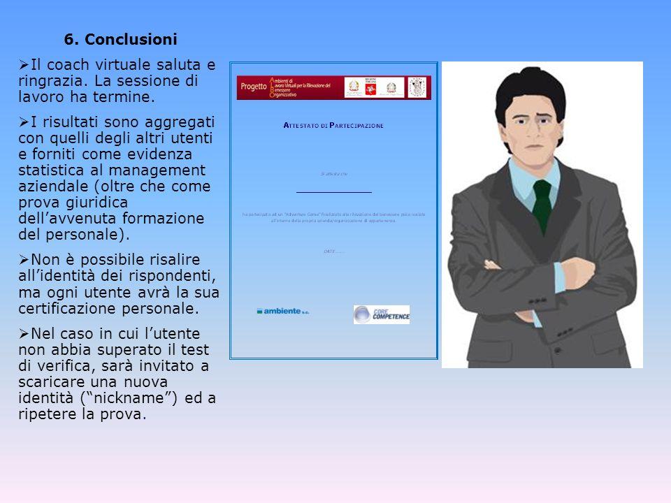 6. Conclusioni Il coach virtuale saluta e ringrazia. La sessione di lavoro ha termine.