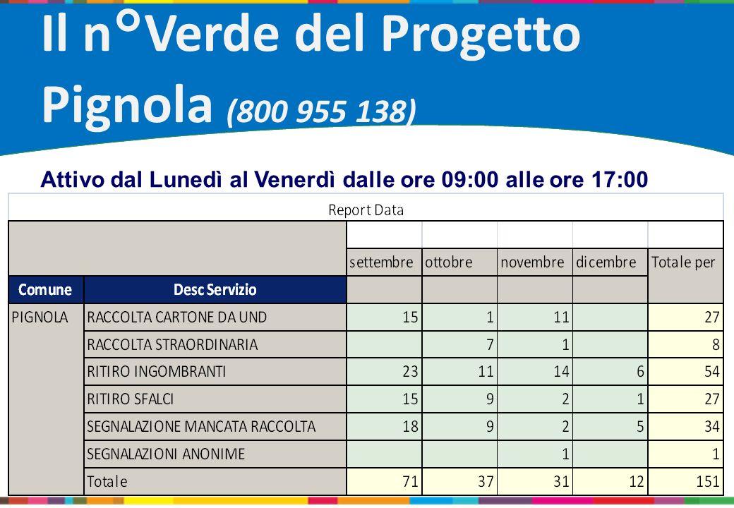 Il n°Verde del Progetto Pignola (800 955 138)