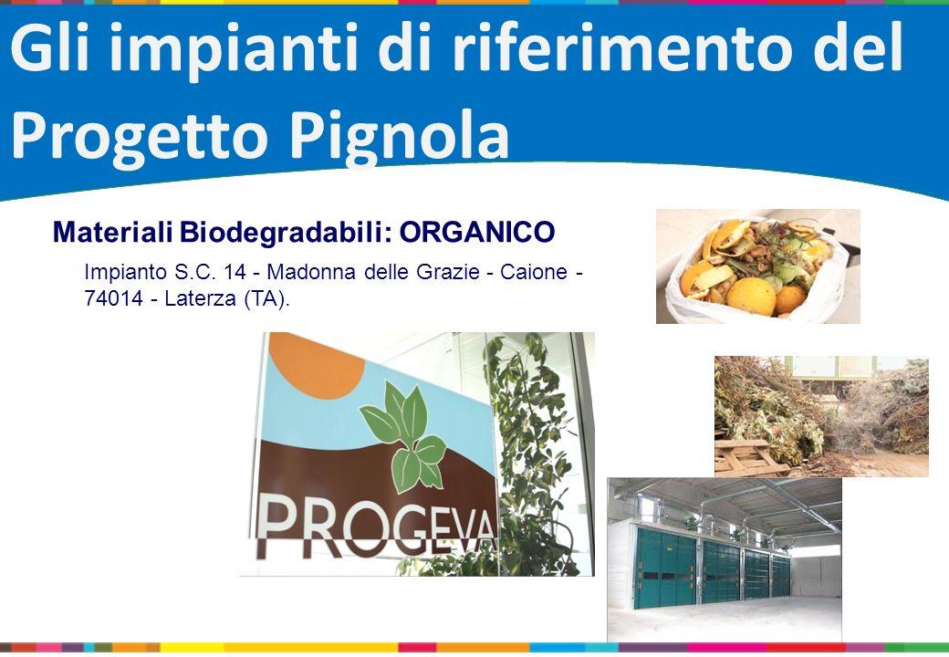 Gli impianti di riferimento del Progetto Pignola