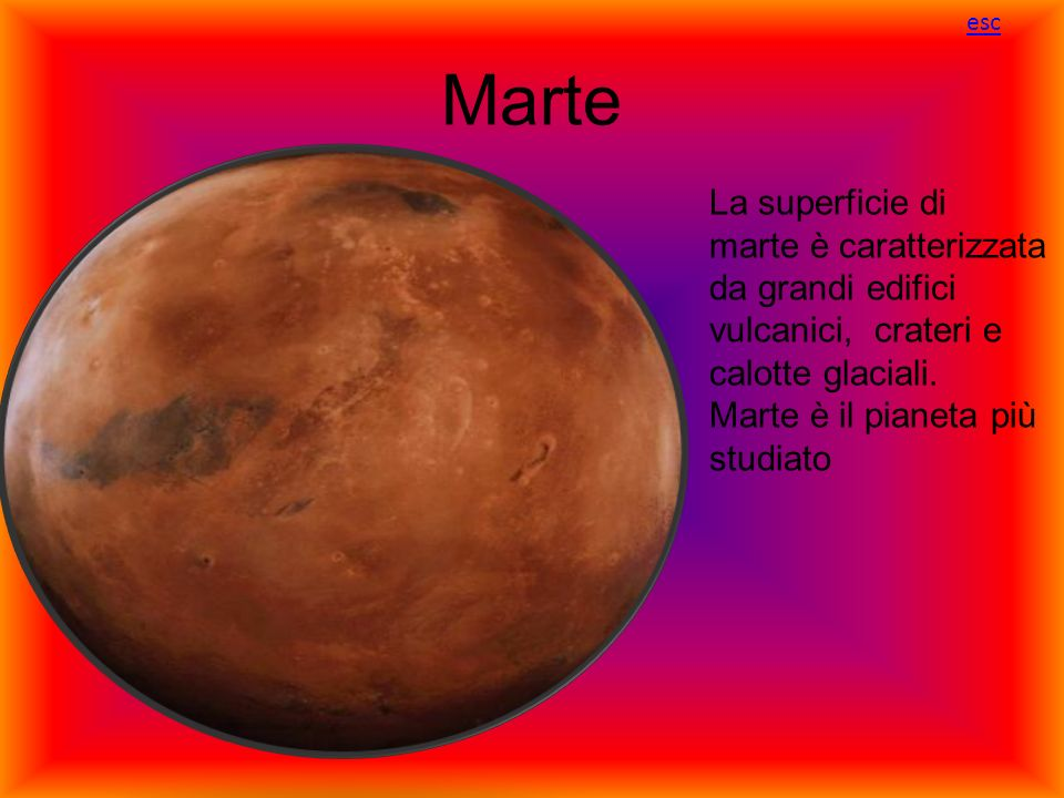 esc Marte. La superficie di marte è caratterizzata da grandi edifici vulcanici, crateri e calotte glaciali.