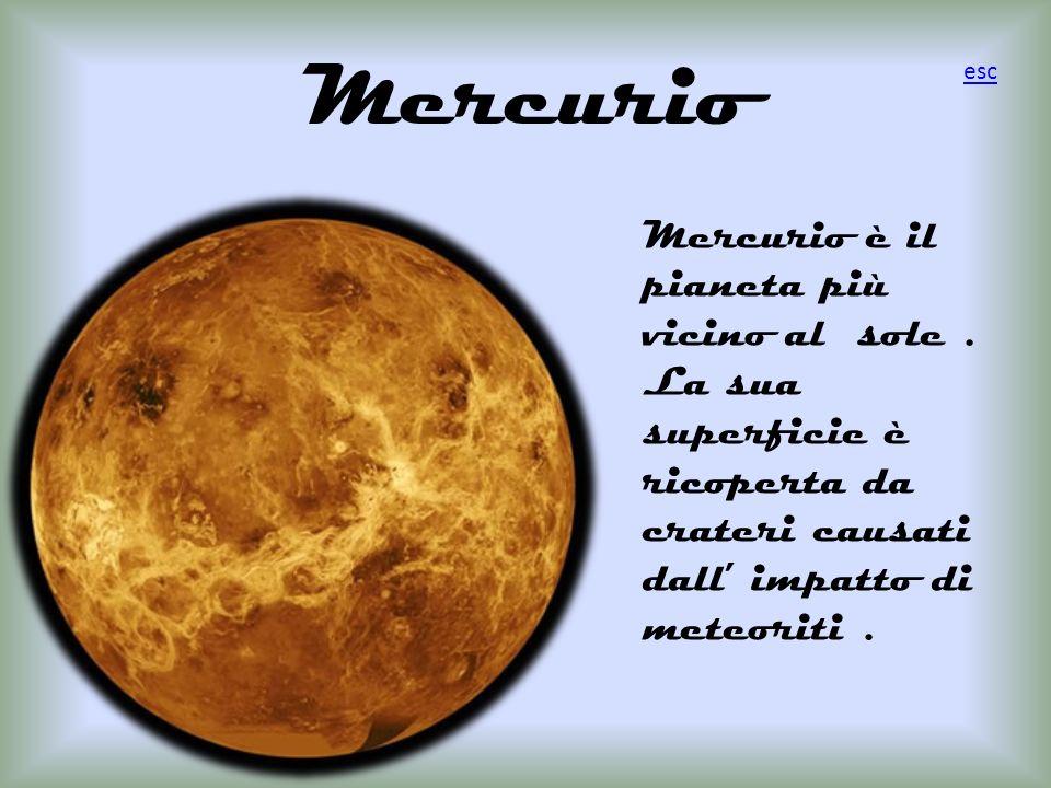 Mercurio Mercurio è il pianeta più vicino al sole .