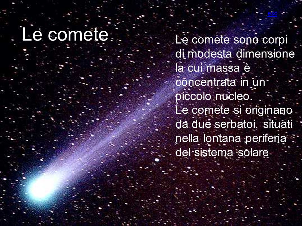 esc Le comete. Le comete sono corpi di modesta dimensione la cui massa è concentrata in un piccolo nucleo.