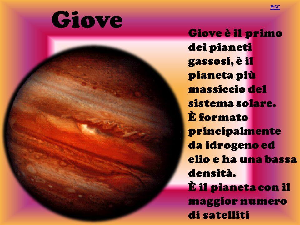 Giove esc. Giove è il primo dei pianeti gassosi, è il pianeta più massiccio del sistema solare.