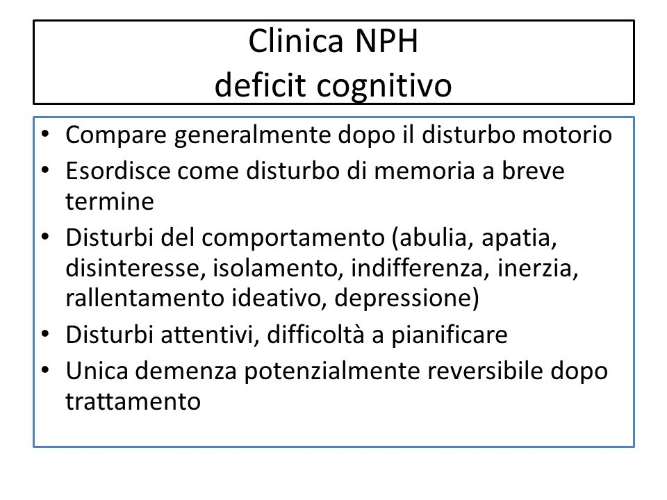 Clinica NPH deficit cognitivo