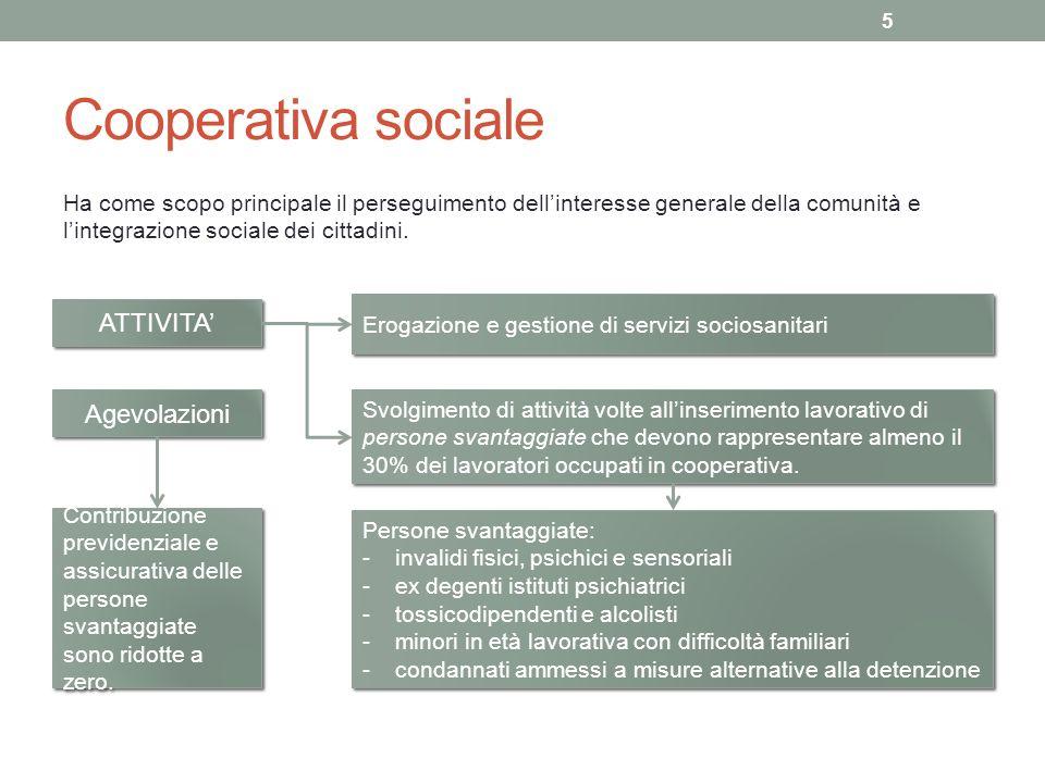 Cooperativa sociale ATTIVITA' Agevolazioni