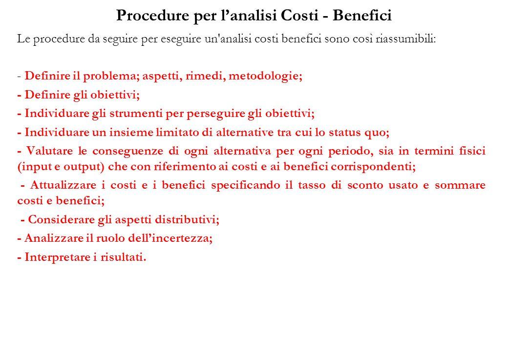 Procedure per l'analisi Costi - Benefici