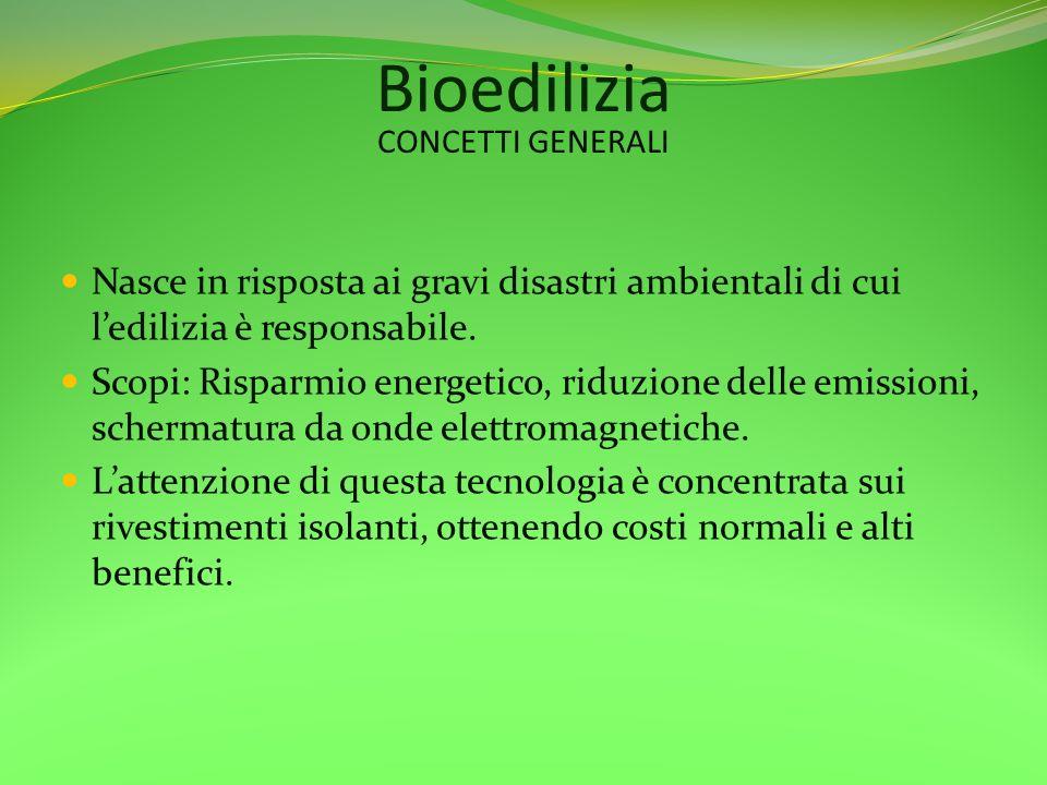 Bioedilizia CONCETTI GENERALI. Nasce in risposta ai gravi disastri ambientali di cui l'edilizia è responsabile.