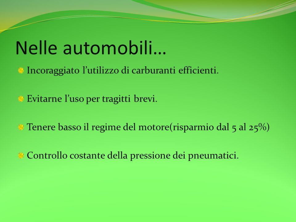 Nelle automobili… Incoraggiato l'utilizzo di carburanti efficienti.