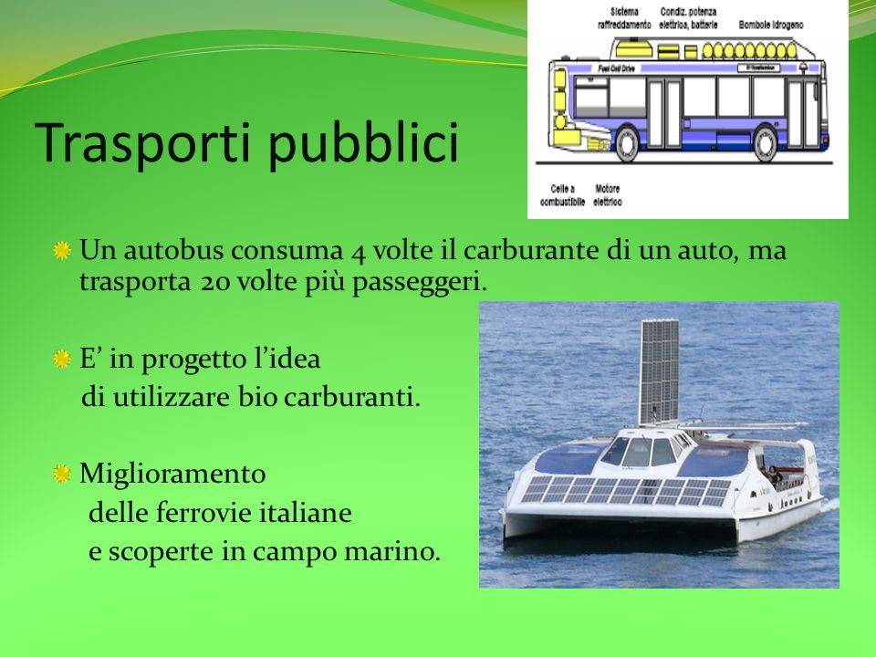 Trasporti pubbliciUn autobus consuma 4 volte il carburante di un auto, ma trasporta 20 volte più passeggeri.